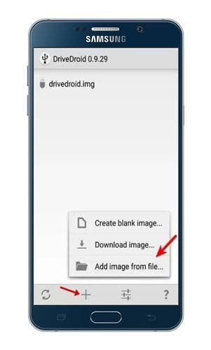 Select 'Add image from file' option