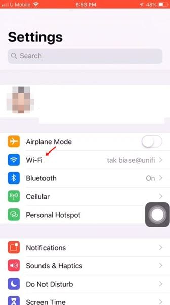 tap on the 'Wi-Fi' option