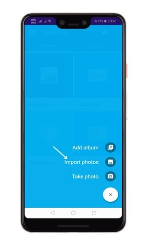 click on 'Import Photos'