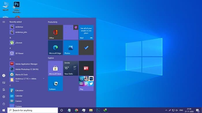 custom color in Windows 10 start menu