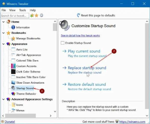 select the 'Replace Startup sound' option