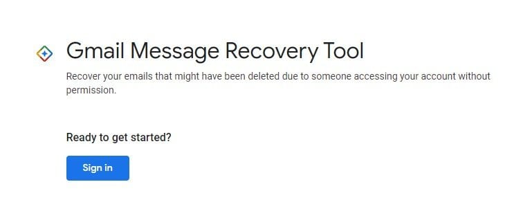 open the Gmail Message Recovery Tool page