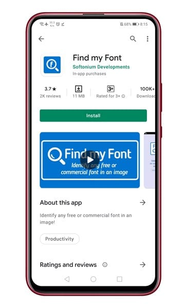 download & install the Find my Font app