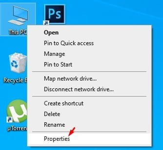 right-click on the 'This PC' and select 'Properties'