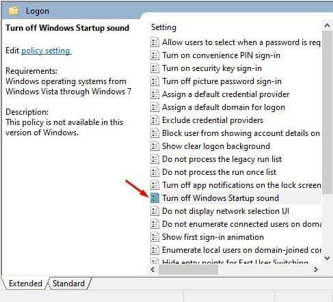 klik dua kali pada opsi 'Matikan Suara Startup Windows'