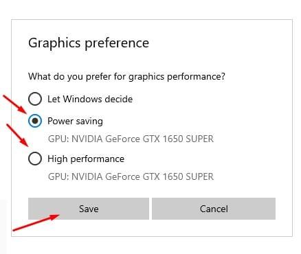 Select graphics preference