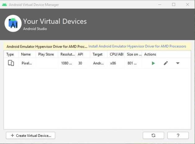 click on the 'Create Virtual Device' option
