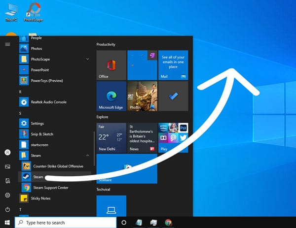 drag and drop the app from the Start menu to the desktop