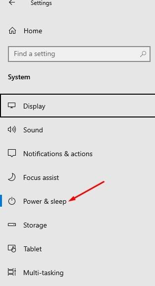 select the 'Power & Sleep' option