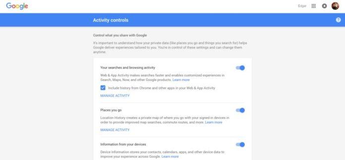 Google Activity Control