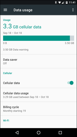 Android Data Usage