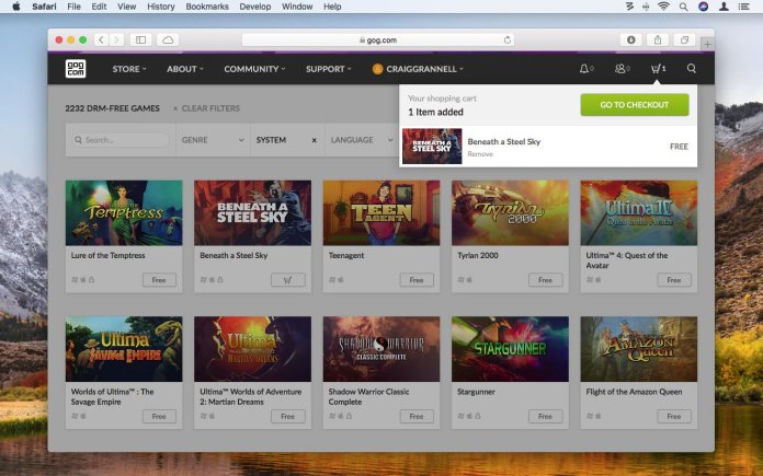 How to use GOG.com to play retro games on Mac: Checkout