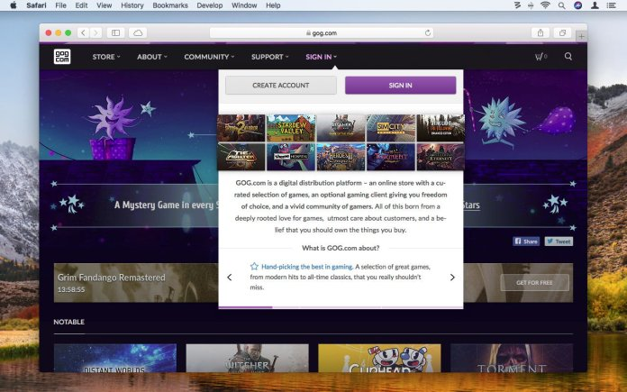 How to use GOG.com to play retro games on Mac: Sign up