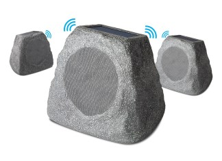 ION's outdoor solar speakers blend in as they stream