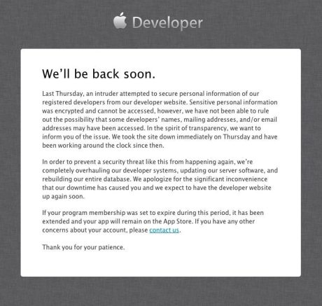 アップル開発者向けサイトの閉鎖続く、侵入者が登録者情報狙う 【@maskin】