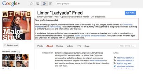 Google+偽名理由に多数のアカウント停止が始まった【湯川】】