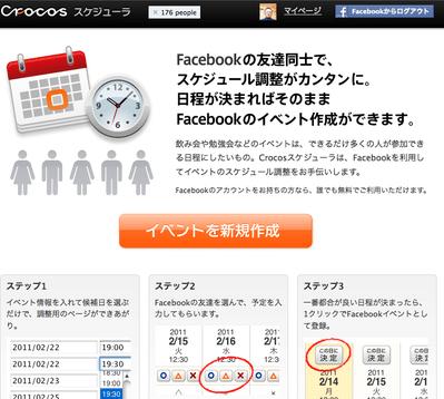 「Crocos スケジュール」で facebookスケジュール調整は完璧かも 【増田(@maskin)真樹】