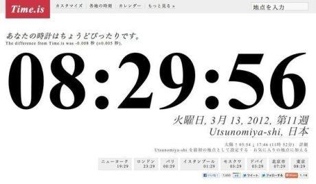 今いる場所の正確な日時を表示する「Time.is」は世界時計として最高に便利かもしれない【増田(@maskin)真樹】