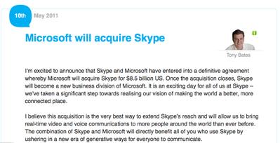 [公式発表] MicrosoftがSkypeを85億ドルで買収、MS社一部門として再スタート 【増田(@maskin)真樹】