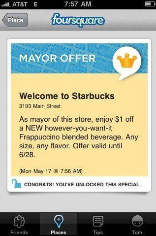 Foursquareでスターバックスのメイヤーになれば1ドル値引き【湯川】