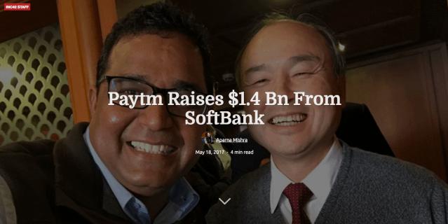 ソフトバンク、インド決済最大手Paytmに1550億円出資