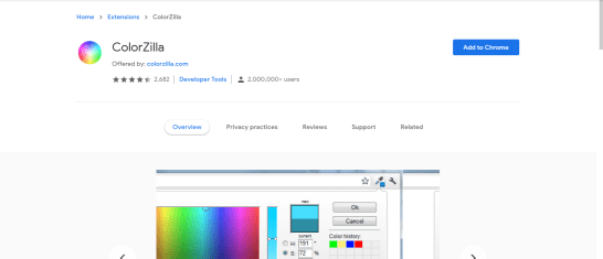 top chrome extensions (ColorZilla)