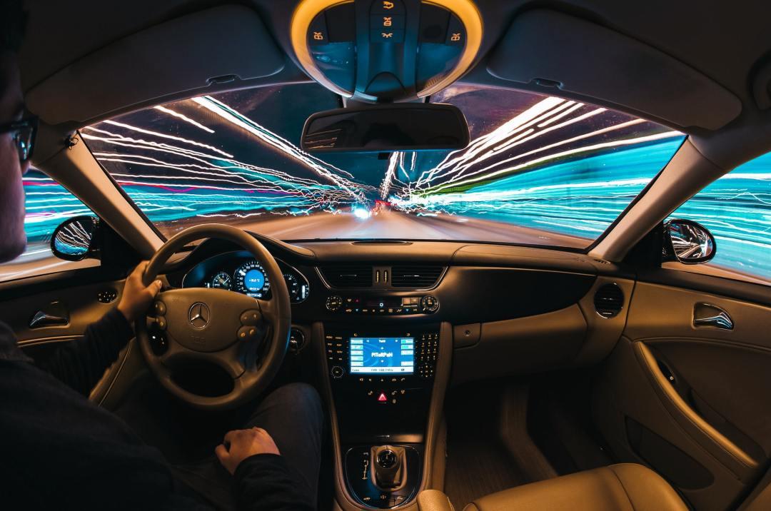 Car in hyperloop moving at 200 miles per hour
