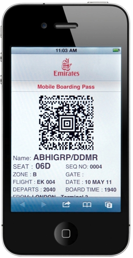 Emirates mobile boarding pass
