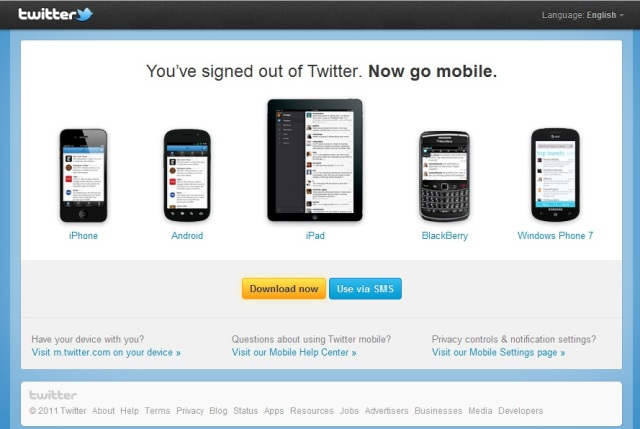 twitter logout page