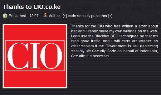 Indonesian hacker Kenya Government Website