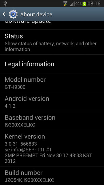 Galaxy S III Android 4.1.2