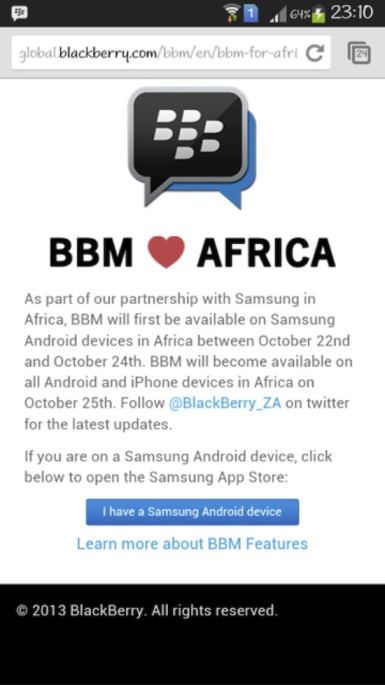 BBM for Android Africa