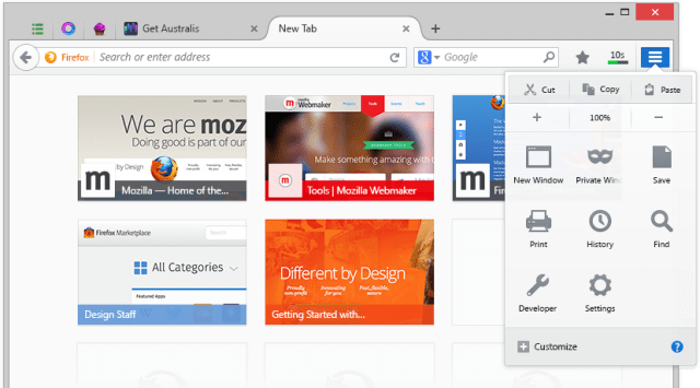 New Firefox User interface screenshot