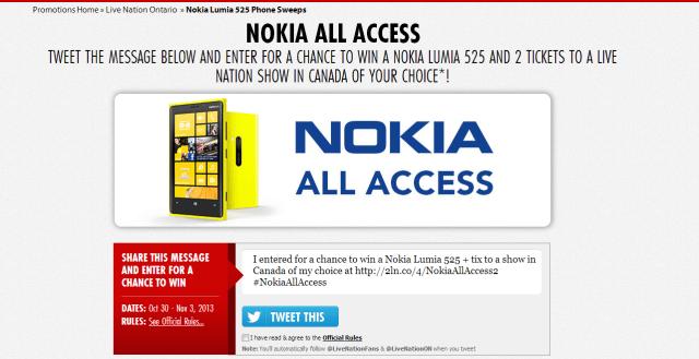 Live Nation Tweematic   Nokia Lumia 525 Phone Sweeps