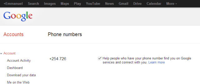 Phone numbers   Account Settings