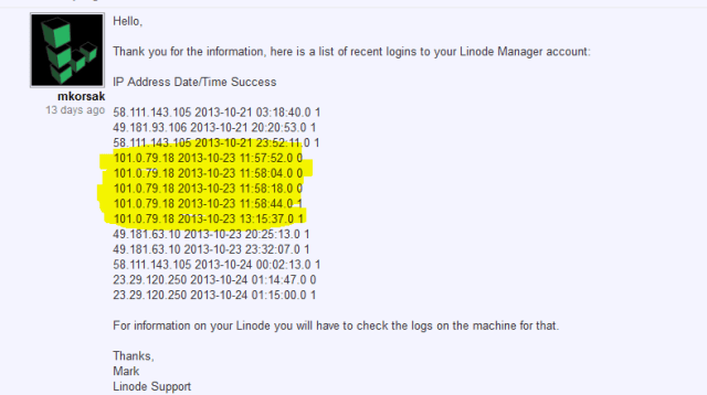 TradeFortress Linode Account showing attacker's likely IPs