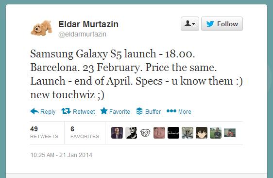 Murtazin Galaxy S5 rumours 21st Jan