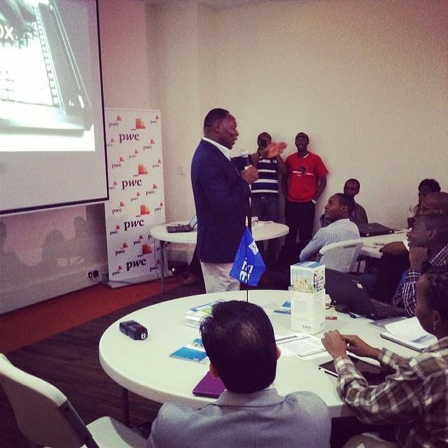 The Right Reverend Bitange Ndemo pontificates over the flock at Africa Hackcon (image:@likubOY)