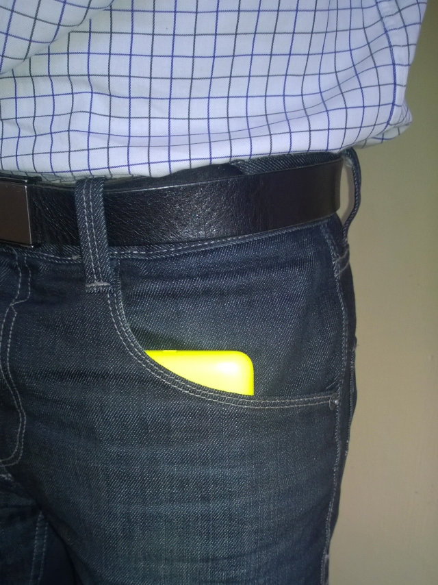Skinny jeans will be a problem for the Lumia 1320.