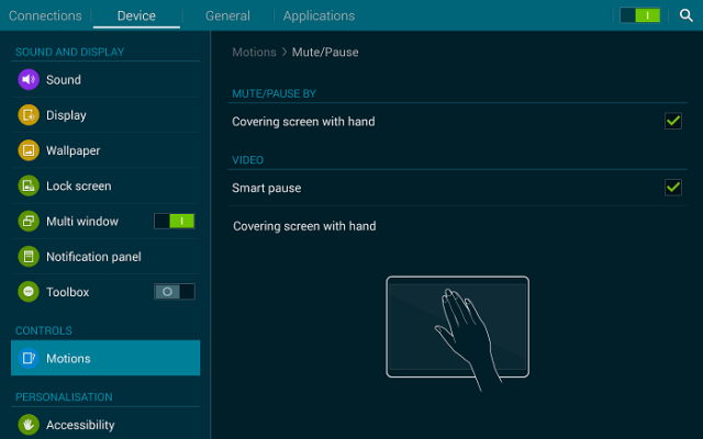 Samsung Tab S Motion Control