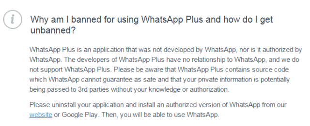 whatsapp notification to whatsapp plus users