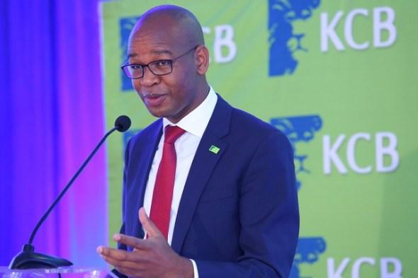 KCB Group CEO Joshua Oigara addresses the audience at the KCB 2015 Half Year Results Briefing at the Hilton Hotel, Nairobi