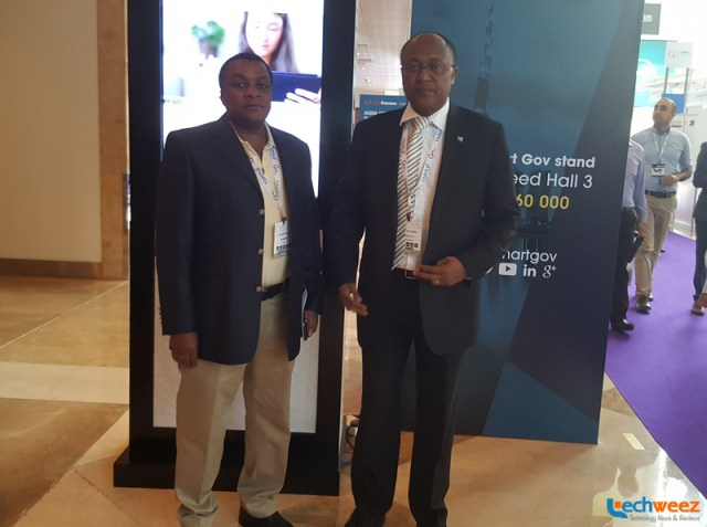 ICT Ministry Principal Secretary Joseph Ole Musuni and ICT Authority boss Victor Kyalo at the GITEX Technology Week in Dubai