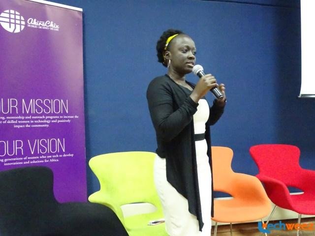 Akirachix's co-founder Angela Oduor Lungati addressing the audience