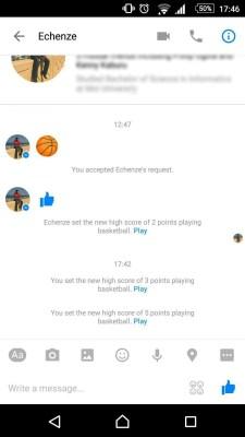 basketball game on messenger