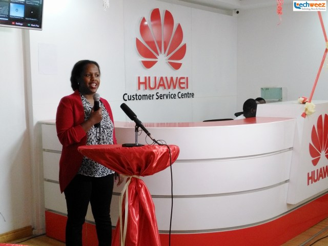 Milicent Ngatia, Huawei Devices Kenya Marketing Manager speaks during the launch early today