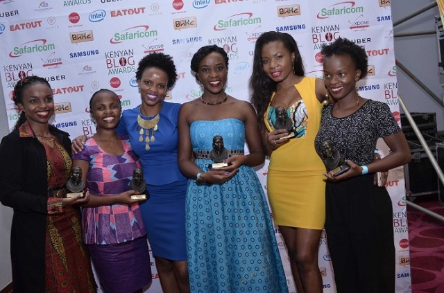 Some of the BAKE Awards 2016 winners - L to R, Dr. Claire Kinuthia (theycallmedaktari.com), Maryann Waweru (mummytales.com), Rachael Muthoni (safari254.com), Diana Kaluhi (kaluhiskitchen.com), Lucia Musau (luciamusau