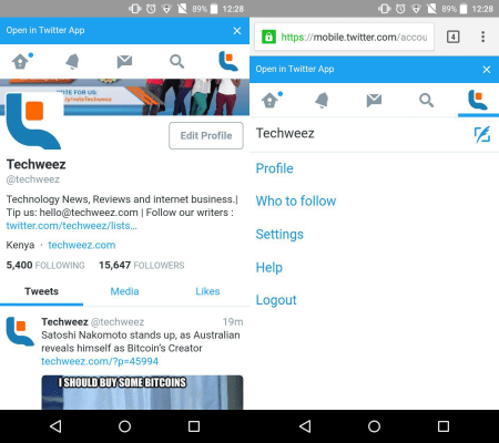 New look Twitter mobile web