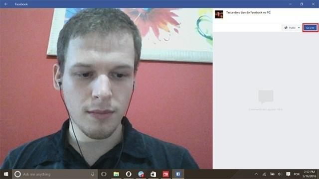 facebook live on the desktop app