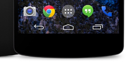 Android's standard navigation buttons pre-Lollipop (from ICS to Jelly Bean to KitKat)